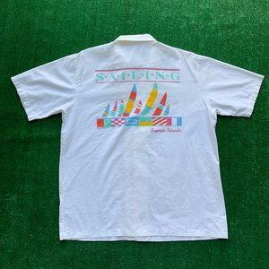 Vintage 80s Cayman Islands Sailing Button Shirt